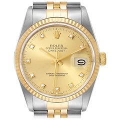 Rolex Datejust Steel 18 Karat Yellow Gold Diamond Dial Men's Watch 16233