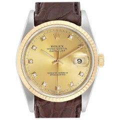 Rolex Datejust Steel 18 Karat Yellow Gold Diamond Dial Men's Watch 16233
