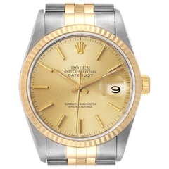 Rolex Datejust Steel 18 Karat Yellow Gold Fluted Bezel Men's Watch 16233