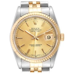 Rolex Datejust Steel 18 Karat Yellow Gold Fluted Bezel Men's Watch 16233
