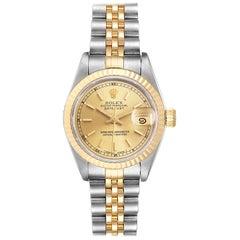 Rolex Datejust Steel 18 Karat Yellow Gold Ladies Watch 69173 Box Papers