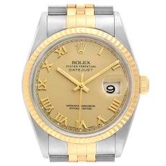 Rolex Datejust Steel 18 Karat Yellow Gold Roman Dial Men's Watch 16233
