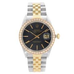 Rolex Datejust Steel 18k Gold Custom Bezel Black Dial Men's Watch 16030