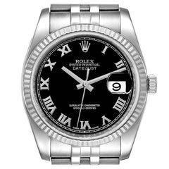 Rolex Datejust Steel 18K White Gold Black Dial Mens Watch 116234