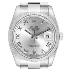 Rolex Datejust Steel 18 Karat White Gold Rhodium Dial Men's Watch 116234
