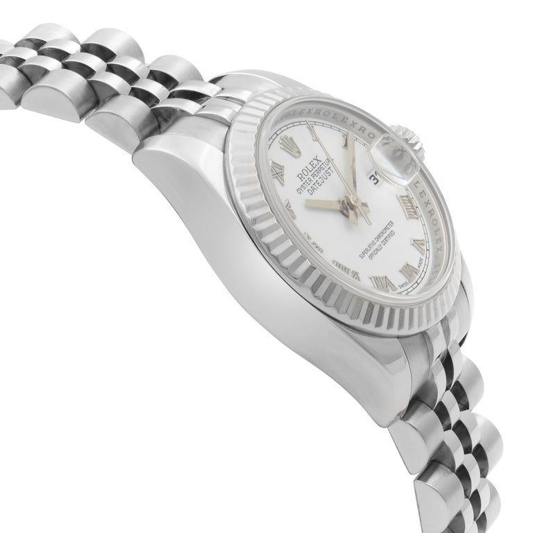 Women's Rolex Datejust Steel 18K White Gold White Roman Automatic Ladies Watch 179174 For Sale