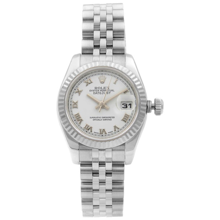 Rolex Datejust Steel 18K White Gold White Roman Automatic Ladies Watch 179174 For Sale