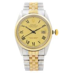Rolex Datejust Steel 18k Yellow Gold Champagne Black Roman Dial Mens Watch 16013