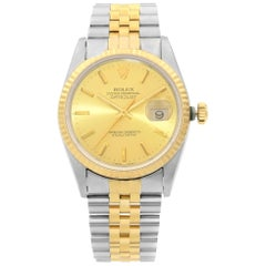 Rolex Datejust Steel 18k Yellow Gold Champagne Dial Automatic Men's Watch 16233