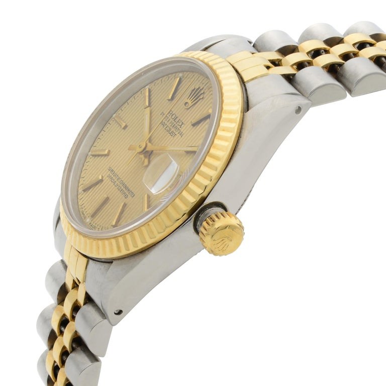Women's or Men's Rolex Datejust Steel 18 Karat Yellow Gold Champagne Dial Midsize Watch 68273 For Sale