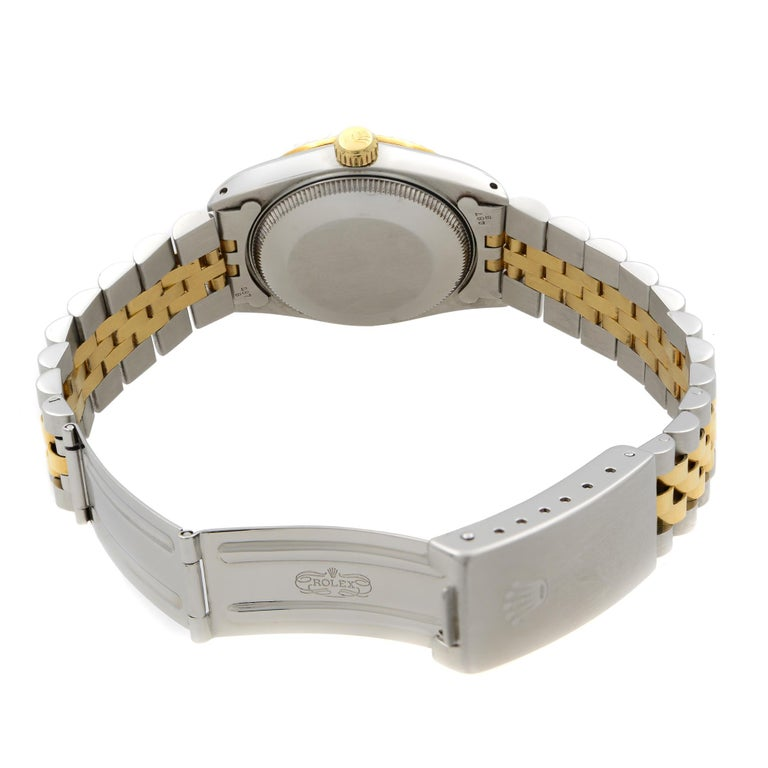Rolex Datejust Steel 18 Karat Yellow Gold Champagne Dial Midsize Watch 68273 For Sale 2