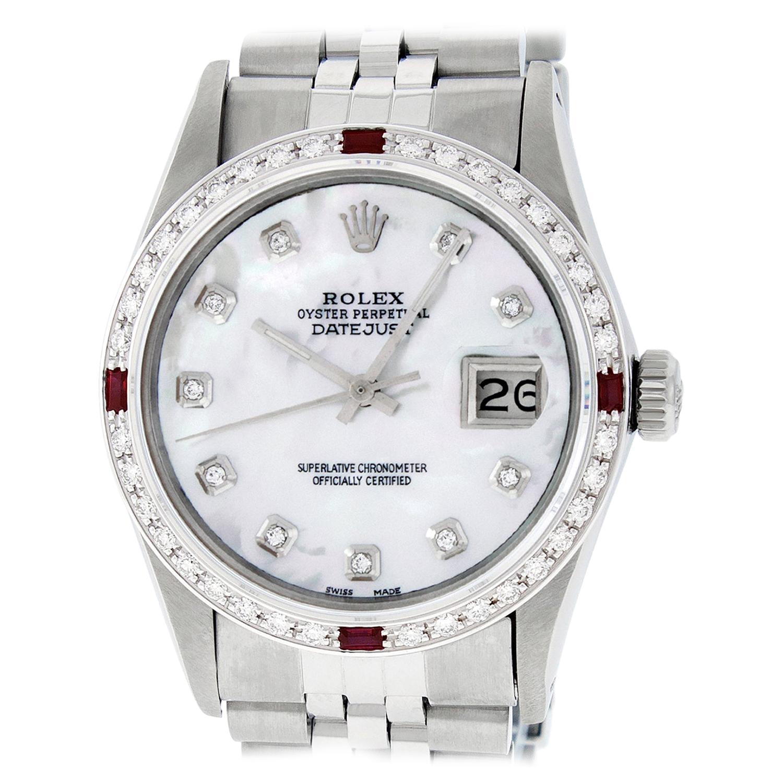 Rolex Datejust Steel and 18K Gold MOP Diamond Dial Diamond Ruby Bezel Mens Watch