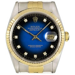 Rolex Datejust Steel and Gold Blue Vignette Diamond Dial 16233 Automatic Watch