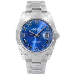 Rolex Datejust Steel Blue Roman Dial Automatic Men's Watch 126300