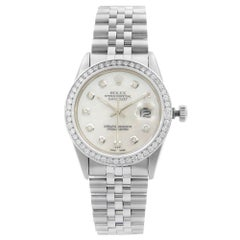Rolex Datejust Steel Custom 1.20 Carat Diamond White MOP Dial 1988 Watch 16014