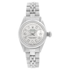 Rolex Datejust Steel Custom Diamond Silver Dial Automatic Ladies Watch 6916