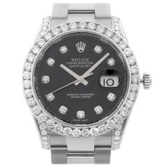 Rolex Datejust Steel Custom Diamonds 4.64cttw Black Dial Automatic Watch 116234