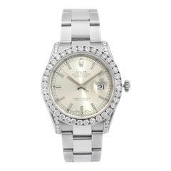 Rolex Datejust Steel Custom Diamonds 4.64cttw Silver Dial Automatic Watch 116234