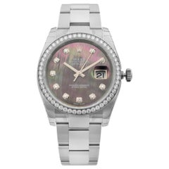 Rolex Datejust Steel Diamond Bezel MOP Dial Automatic Ladies Watch 116244