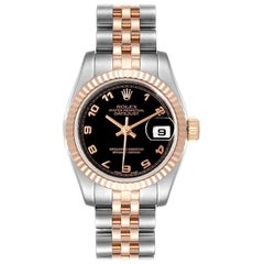 Rolex Datejust Steel Everose Gold Arabic Numerals Ladies Watch 179171
