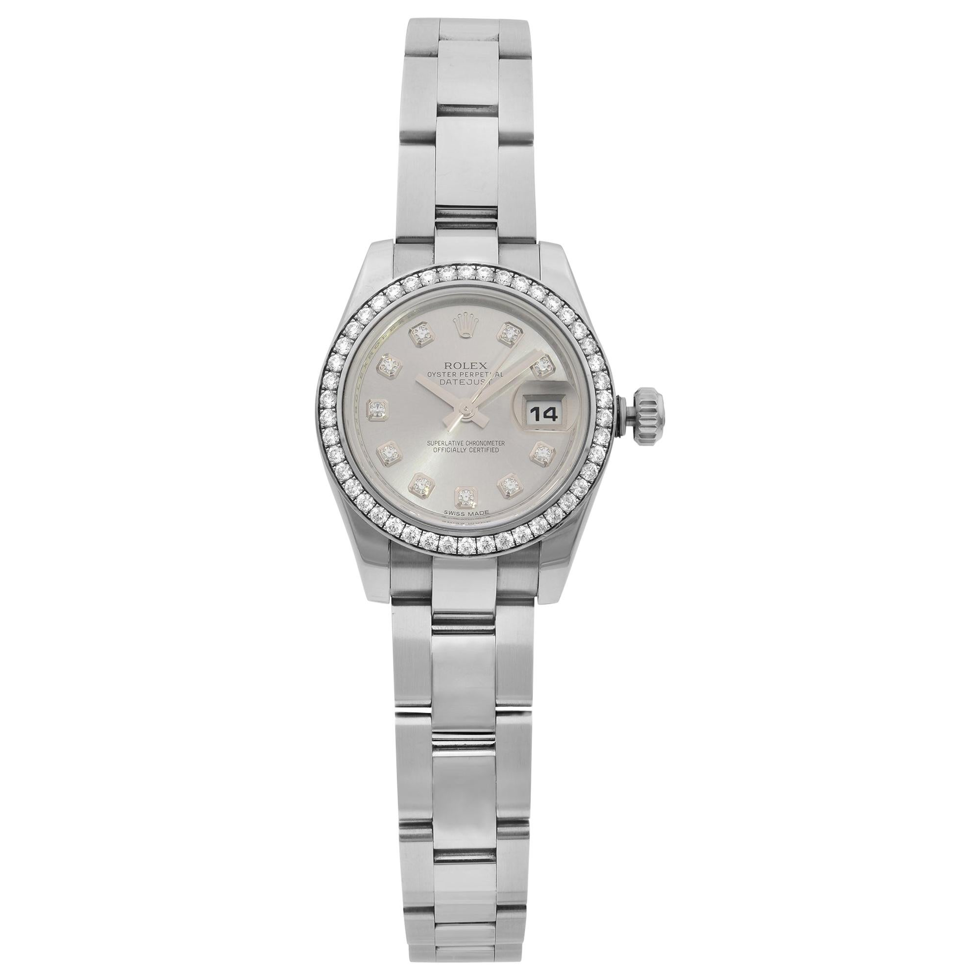 Rolex Datejust Steel Gold Diamond Bezel Silver Dial Ladies Watch 179384