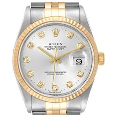 Rolex Datejust Steel Gold Silver Diamond Dial Men's Watch 16233 Box Papers