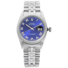 Rolex Datejust Steel Jubilee Bracelet Blue Roman Dial Automatic Mens Watch 16220