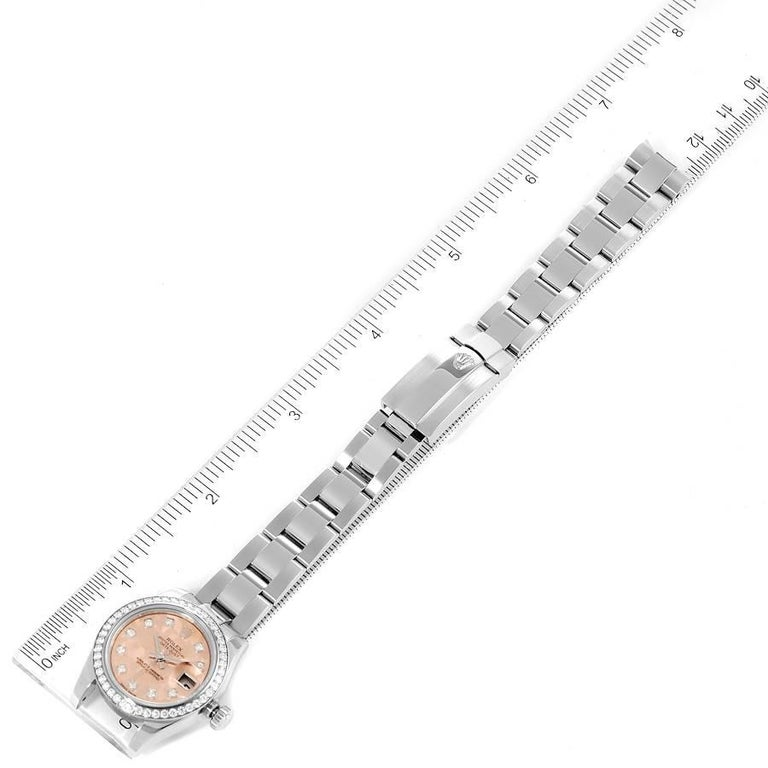 Rolex Datejust Steel Pink Gold Crystal Diamond Ladies Watch 179384 Box Card For Sale 6