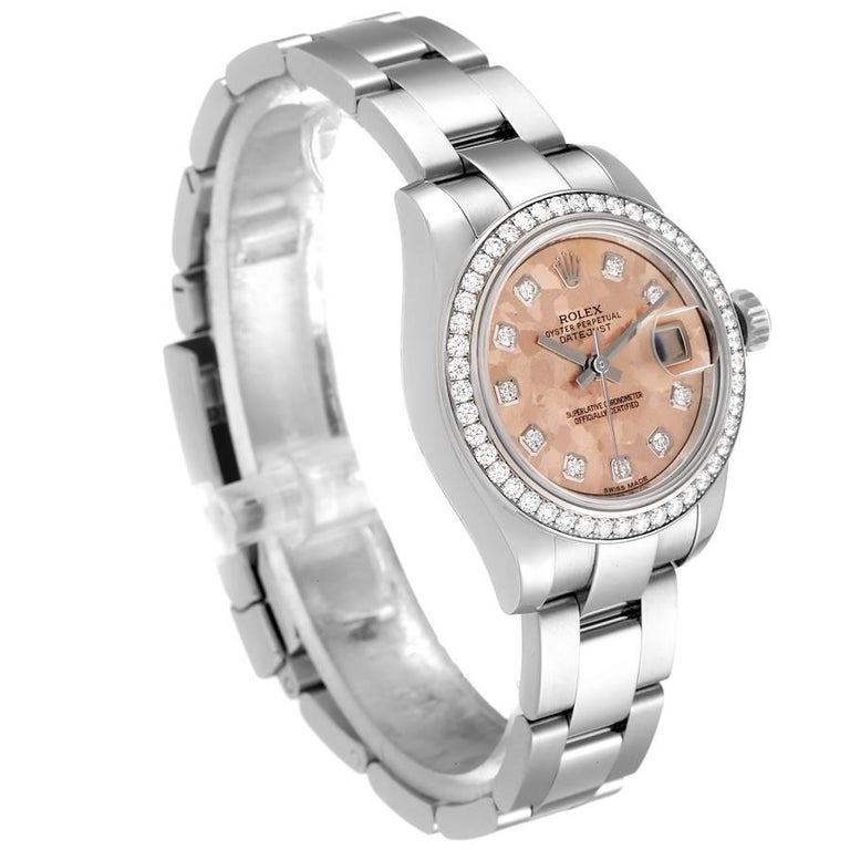 Rolex Datejust Steel Pink Gold Crystal Diamond Ladies Watch 179384 Box Card In Excellent Condition For Sale In Atlanta, GA