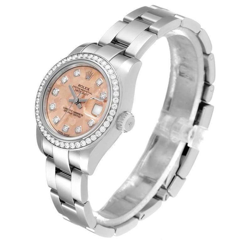Women's Rolex Datejust Steel Pink Gold Crystal Diamond Ladies Watch 179384 Box Card For Sale