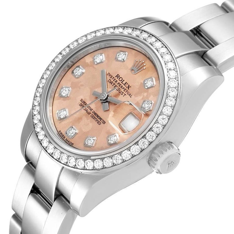 Rolex Datejust Steel Pink Gold Crystal Diamond Ladies Watch 179384 Box Card For Sale 1
