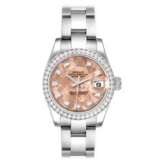 Rolex Datejust Steel Pink Gold Crystal Diamond Ladies Watch 179384 Box Card