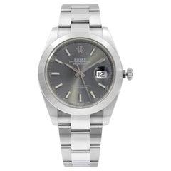 Rolex Datejust Steel Rhodium Index Dial Men's Watch 126300RSO