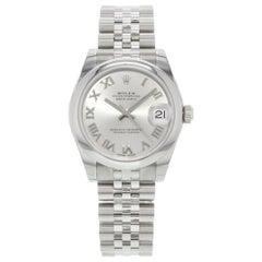 Rolex Datejust Steel Rhodium Roman Dial Automatic Midsize Jubilee Watch 178240