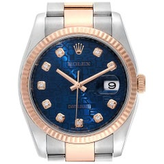 Rolex Datejust Steel Rose Gold Blue Diamond Dial Unisex Watch 116231