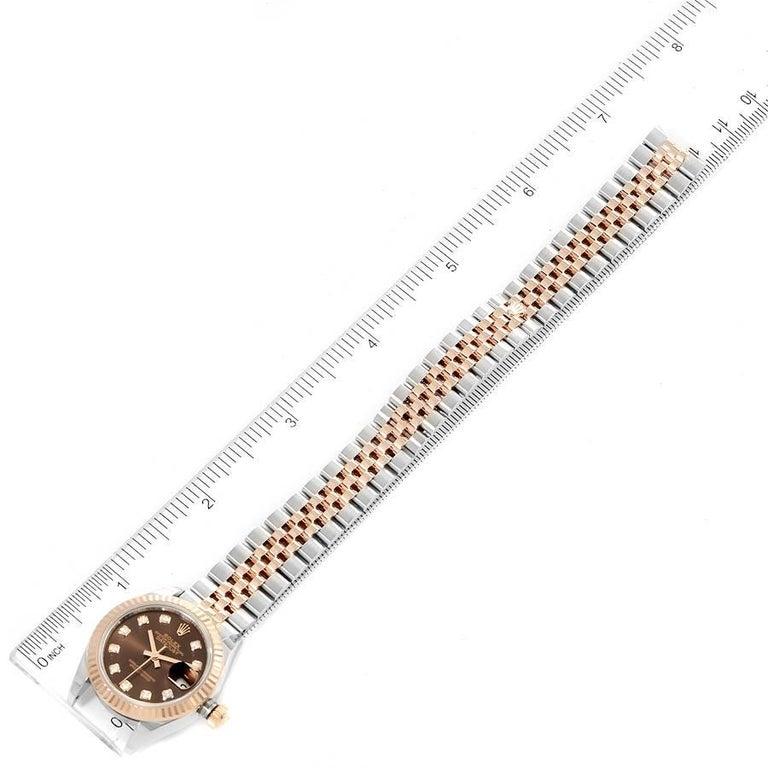 Rolex Datejust Steel Rose Gold Chocolate Diamond Watch 279171 Box Card For Sale 6