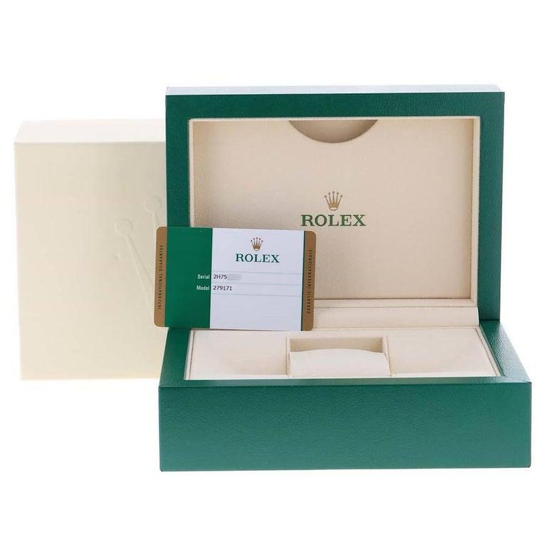 Rolex Datejust Steel Rose Gold Chocolate Diamond Watch 279171 Box Card For Sale 8