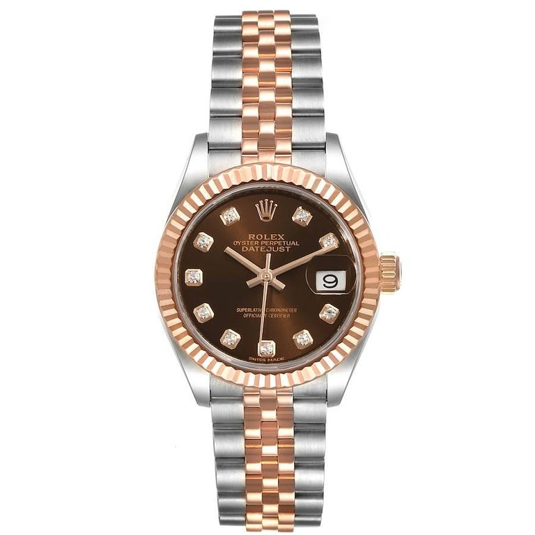 Rolex Datejust Steel Rose Gold Chocolate Diamond Watch 279171 Box Card. Officially certified chronometer self-winding movement. Stainless steel oyster case 28 mm in diameter. Rolex logo on a 18K rose gold crown. 18k everose gold fluted bezel.