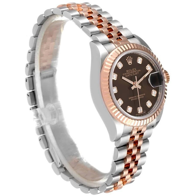 Rolex Datejust Steel Rose Gold Chocolate Diamond Watch 279171 Box Card In Excellent Condition For Sale In Atlanta, GA