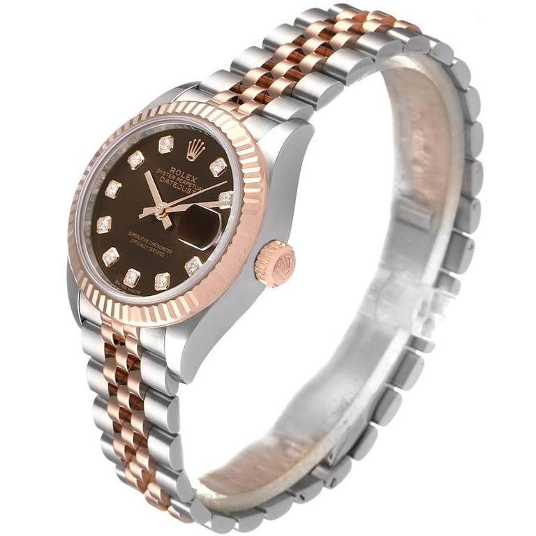 Women's Rolex Datejust Steel Rose Gold Chocolate Diamond Watch 279171 Box Card For Sale