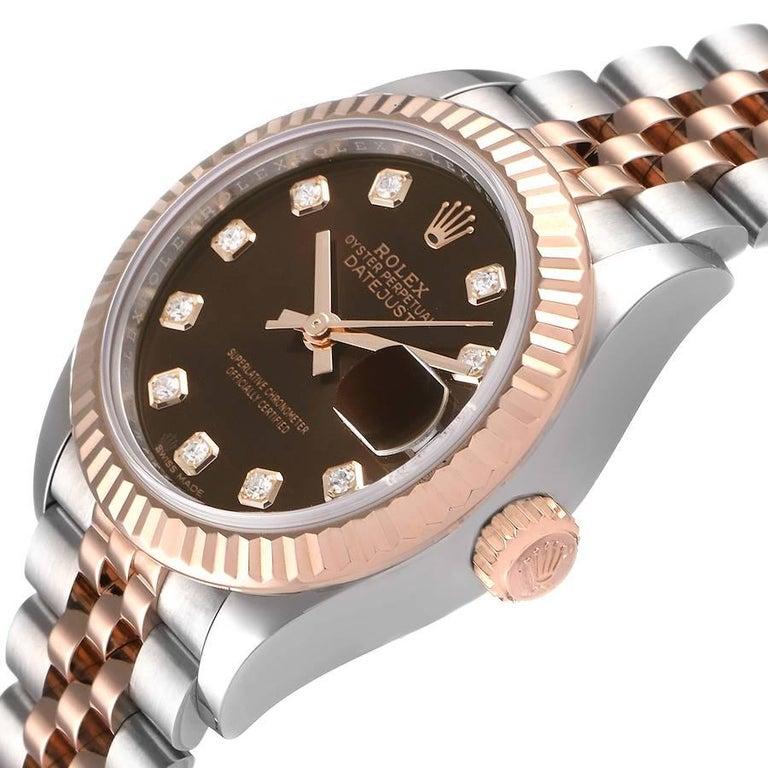 Rolex Datejust Steel Rose Gold Chocolate Diamond Watch 279171 Box Card For Sale 1