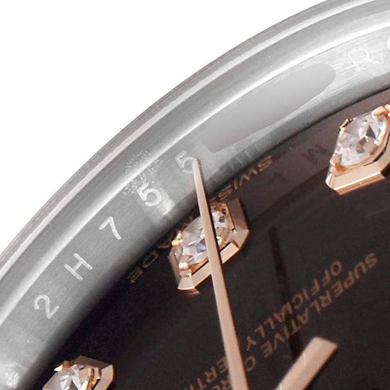 Rolex Datejust Steel Rose Gold Chocolate Diamond Watch 279171 Box Card For Sale 2