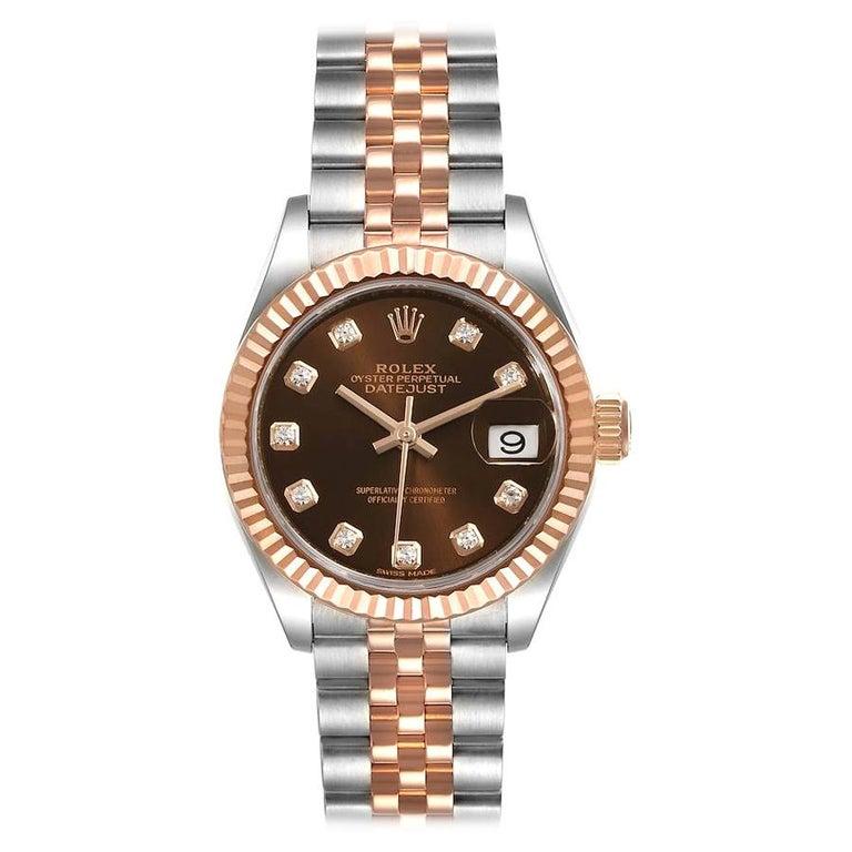 Rolex Datejust Steel Rose Gold Chocolate Diamond Watch 279171 Box Card For Sale