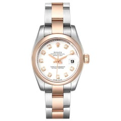 Rolex Datejust Steel Rose Gold Diamond Ladies Watch 179161 Box Papers