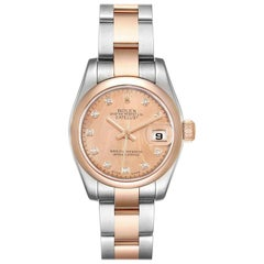 Rolex Datejust Steel Rose Gold Diamond Ladies Watch 179161