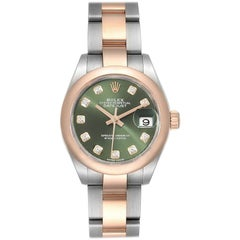 Rolex Datejust Steel Rose Gold Olive Green Diamond Ladies Watch 279161 Box Card