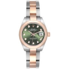 Rolex Datejust Steel Rose Gold Olive Green Diamond Ladies Watch 279161