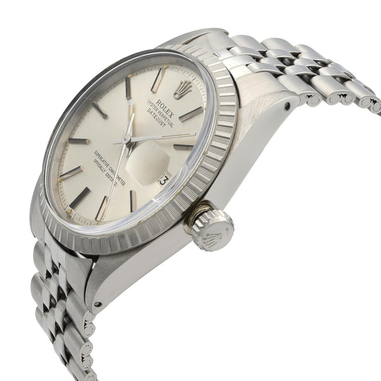 Rolex Datejust Steel Silver Dial Engine Turned Bezel Automatic Men's Watch 1603 For Sale 1