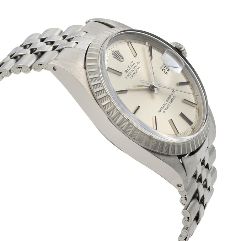 Rolex Datejust Steel Silver Dial Engine Turned Bezel Automatic Men's Watch 1603 For Sale 2