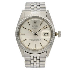 Rolex Datejust Steel Silver Dial Engine Turned Bezel Automatic Men's Watch 1603